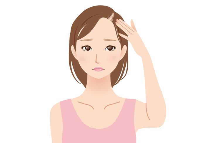 産後の毛髪を気にする女性イラスト