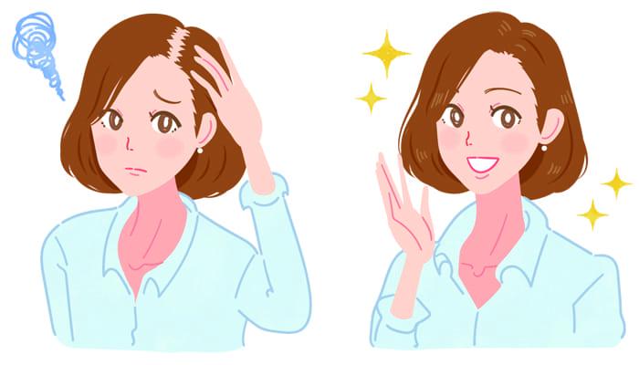 薄毛に悩む女性と解決した女性
